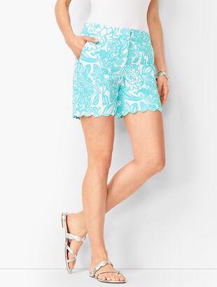 Textured Scallop-Hem Shorts - Floral