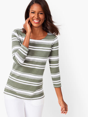 Button-Back Stripe Top