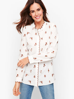 Scallop Trim Embroidered Shirt