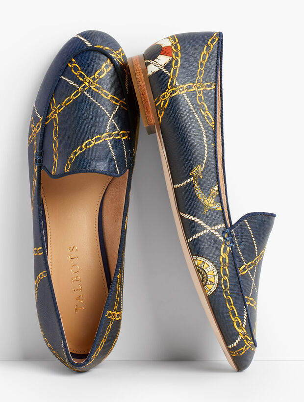 Ryan Nautical-Print Loafers
