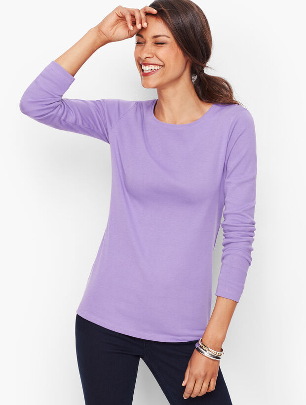 Long-Sleeve Crewneck Tee-Solid