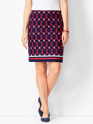 Rope Print Canvas Stretch Skirt