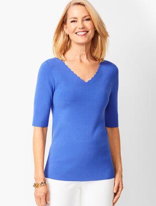 178e11156d1b Scallop-Trim V-Neck Sweater