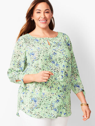 Tie-Sleeve Blouse - Floral Branches