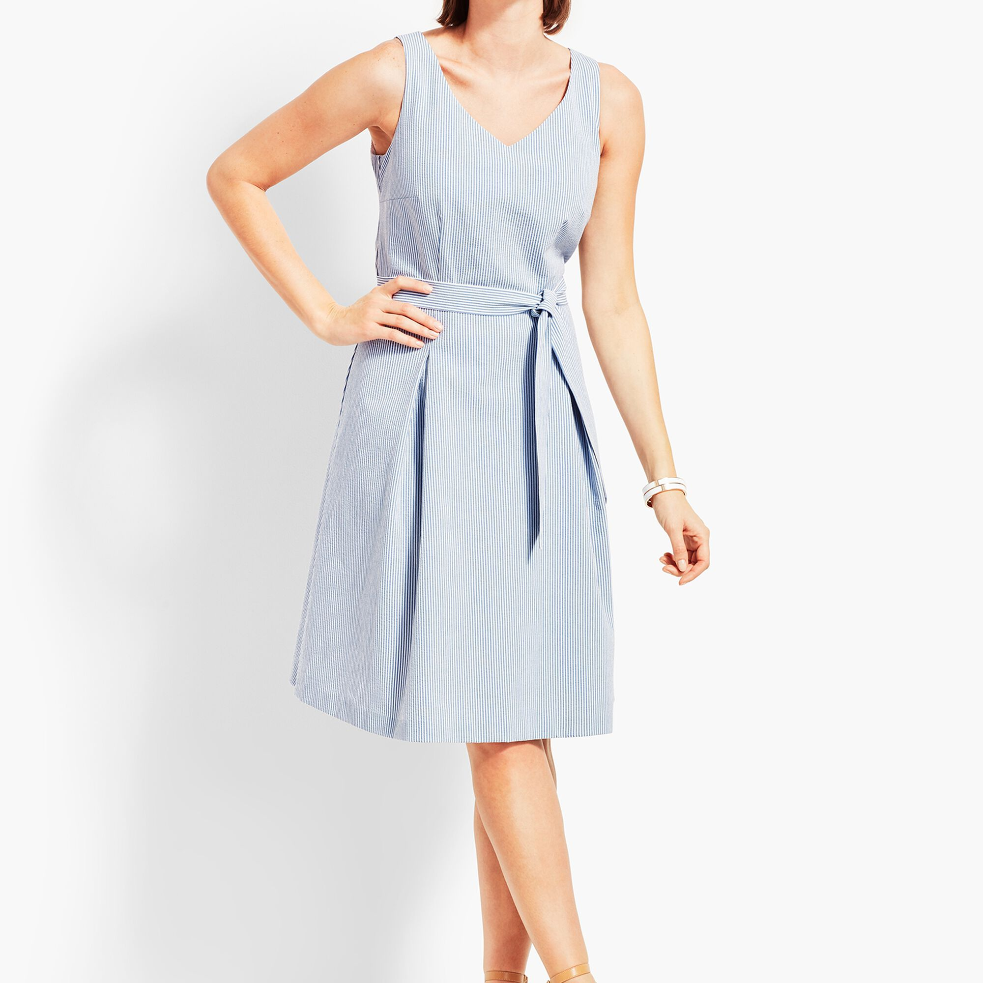 567cd909132 Belted Seersucker Fit-and-Flare Dress