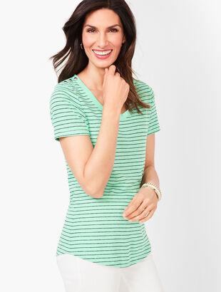 Linen-Blend Tee - Stripe