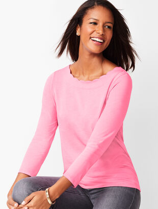 Three-Quarter-Sleeve Pima Scallop-Neck Top