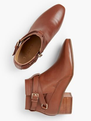 Dakota Block Heel Ankle Boots - Vachetta Milano Leather