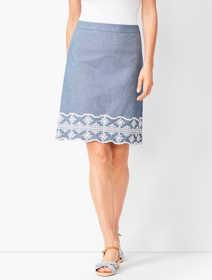 Embroidered Chambray A-Line Skirt