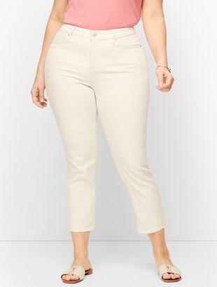 Plus Size Straight Leg Crop Jeans - Curvy Fit - Vanilla & White