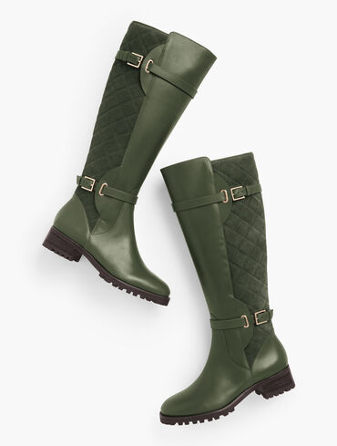 Tish Tall Quilted Leather Lug Boots