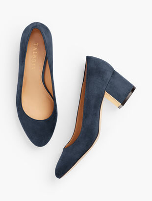 Isa Block Heel Pumps - Suede