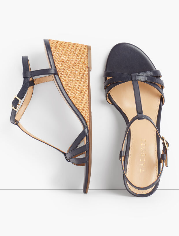 Royce T-Strap Woven Wedges - Nappa Leather