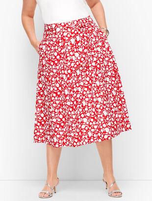 Pleated Floral Midi Skirt