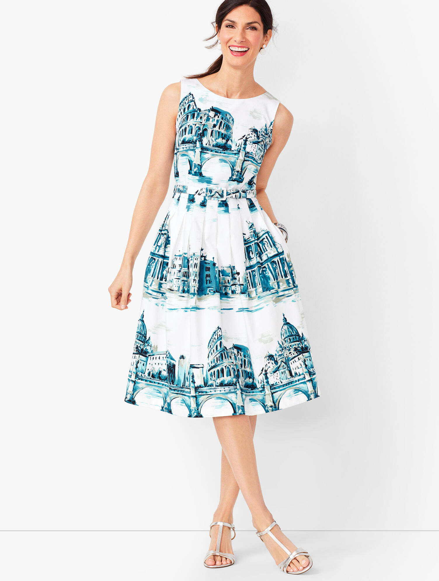 Talbots Plus spring summer sleeveless garden print cotton dress 3X