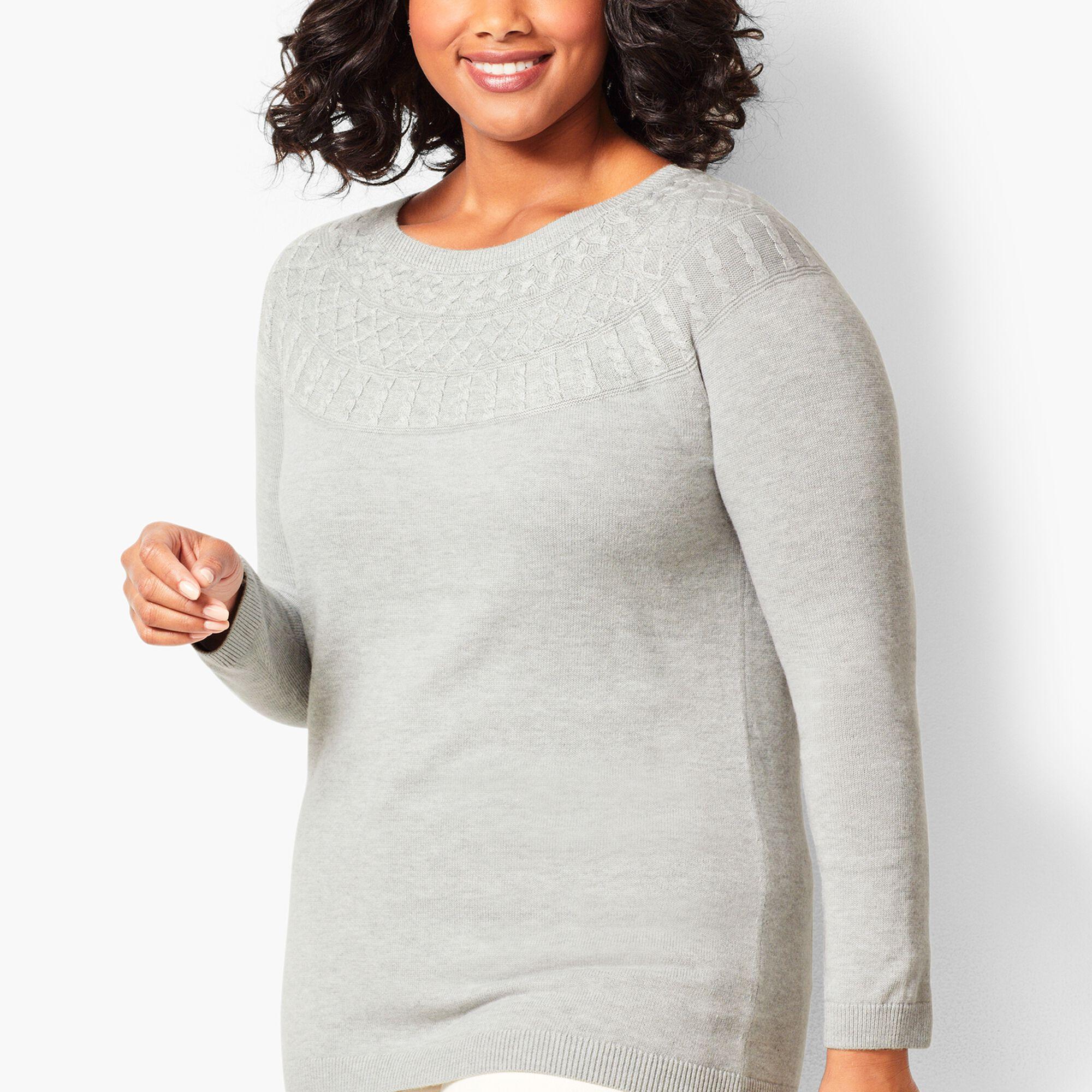 af5b148461 Cable-Yoke Cotton-Blend Sweater