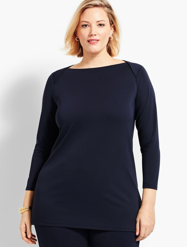 Plus Size Exclusive Knit Jersey Envelope-Neck Tunic