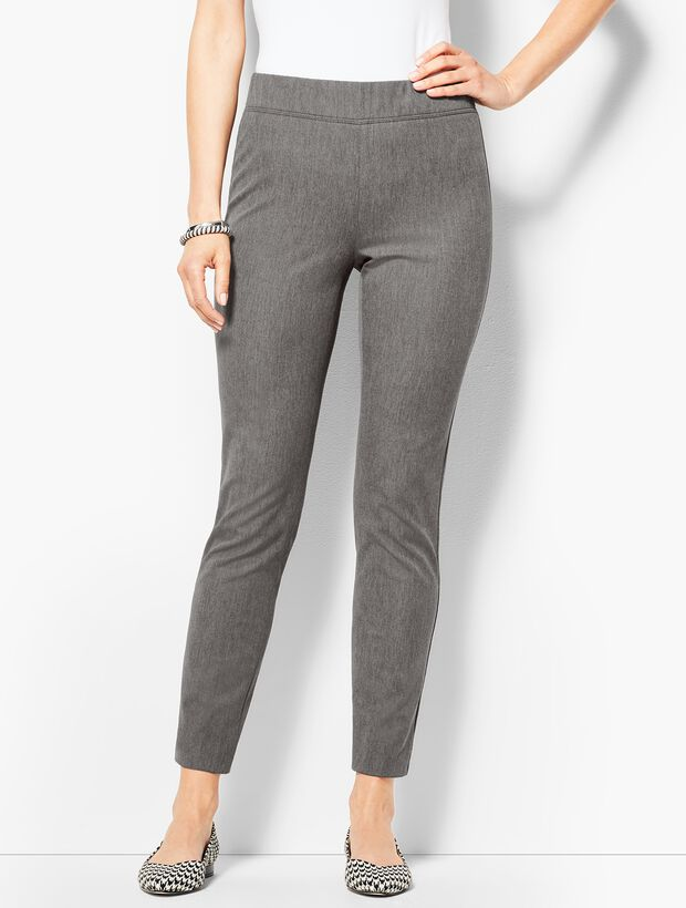 Charcoal Cotton Bi-Stretch Pull-On Skinny Ankle Pant