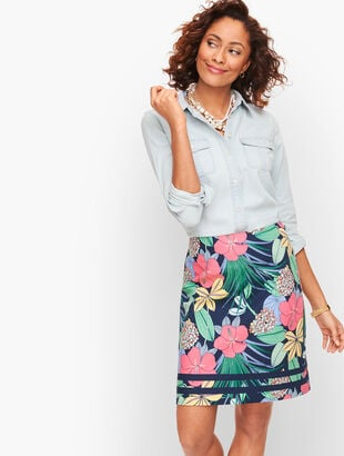 Cotton Canvas A-Line Skirt - Hibiscus Print