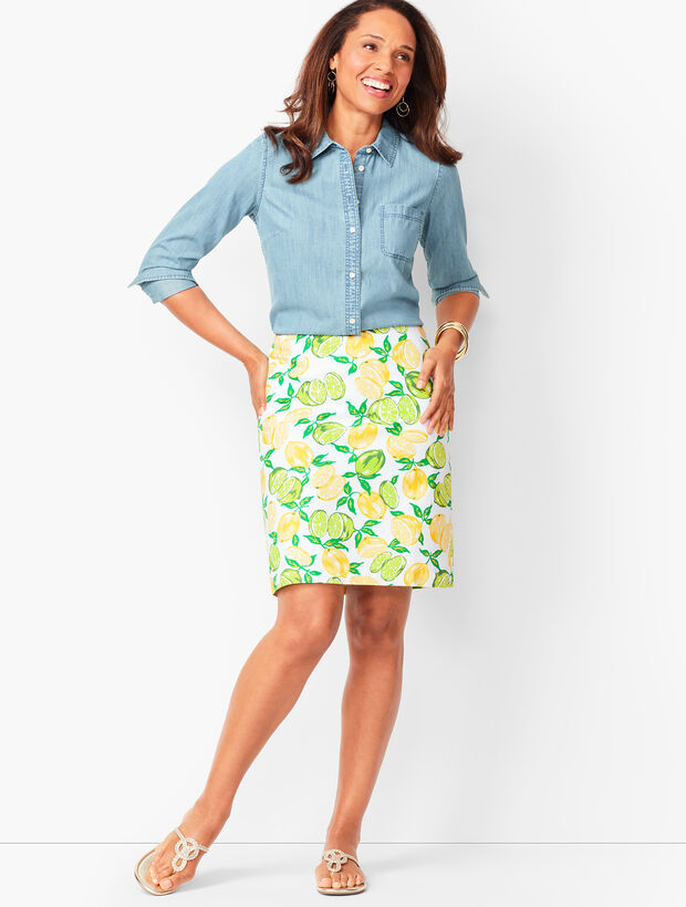 Classic Cotton A-Line Skirt - Lemon & Lime