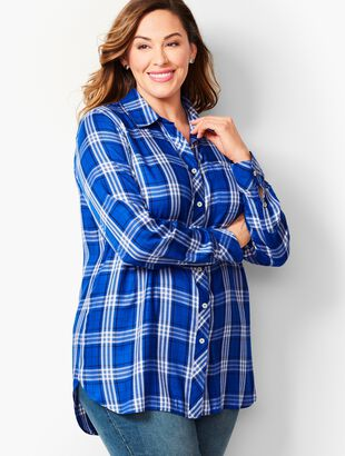 Longer-Length Button-Front Shirt - Blue Plaid