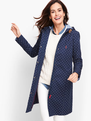 Hooded Polka Dot Rain Jacket