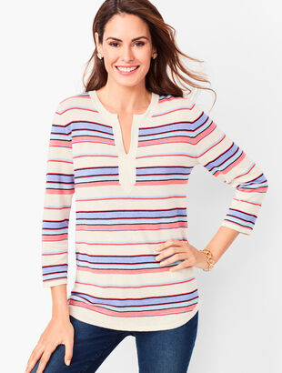 Linen-Blend Split-Neck Sweater - Stripe