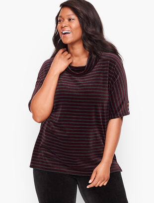 Luxe Velour Stripe Cowlneck Top