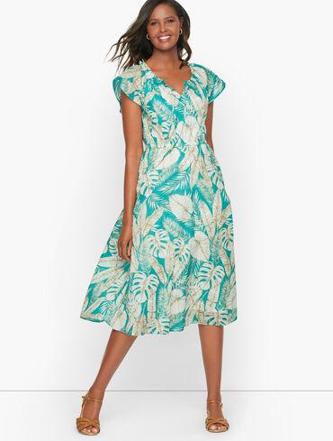 Fit & Flare Dress - Sketched Leaves