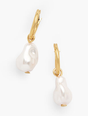 Two-In-One Baroque Pearl Charm Hoop Earrings