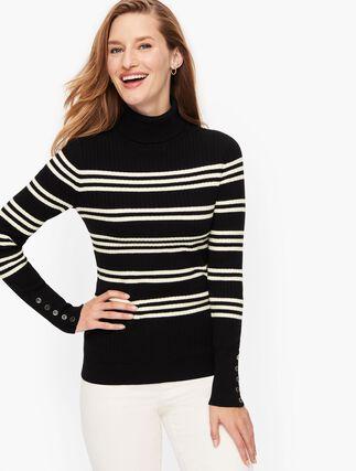 Talbots Button Cuff Ribbed Turtleneck Sweater (Stripe)