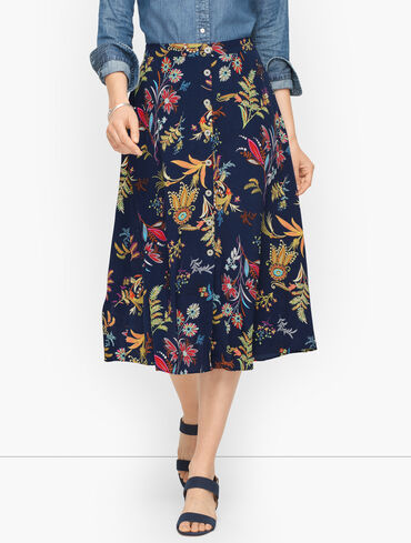 Button Front Midi Skirt - Dancing Floral