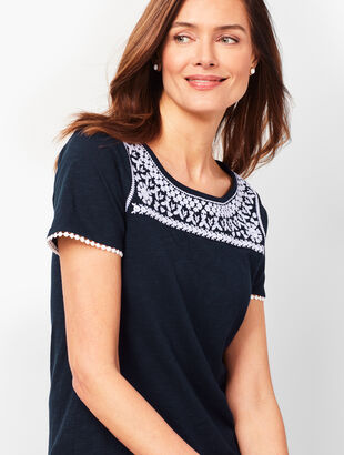 5a6f4e366573be Embroidered-Trim Tee