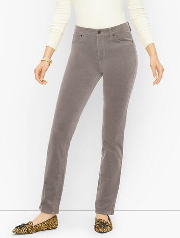 Corduroy Straight Leg Pants - Curvy Fit