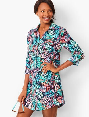 Crinkle Cotton Beach Shirt - Breezy Palm Print