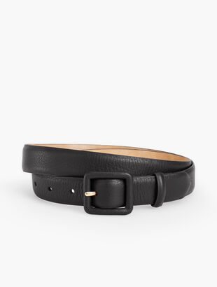 Soft Pebble Leather Covered Buckle Belt