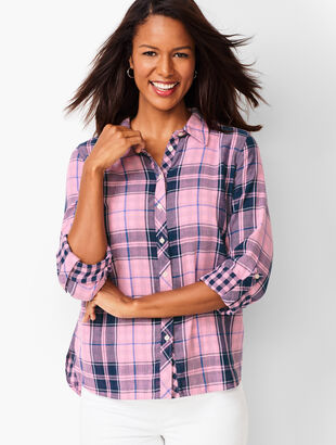 Classic Cotton Shirt - Lapis Plaid
