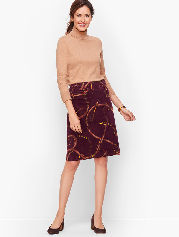 Corduroy A-Line Skirt - Equestrian Print