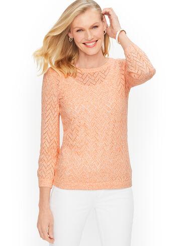 Cotton Linen Pointelle Sweater - Marled
