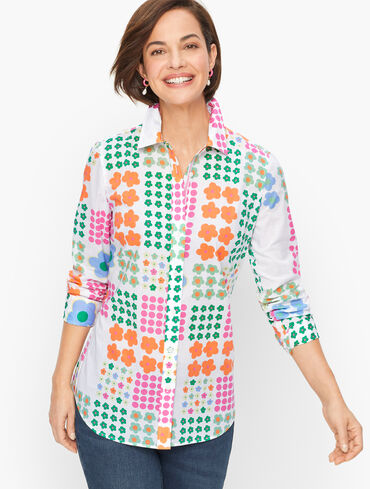 Classic Cotton Shirt - Graphic Flower Dots