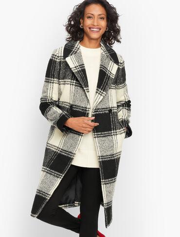 Brushed Wool Blend Plaid Coat