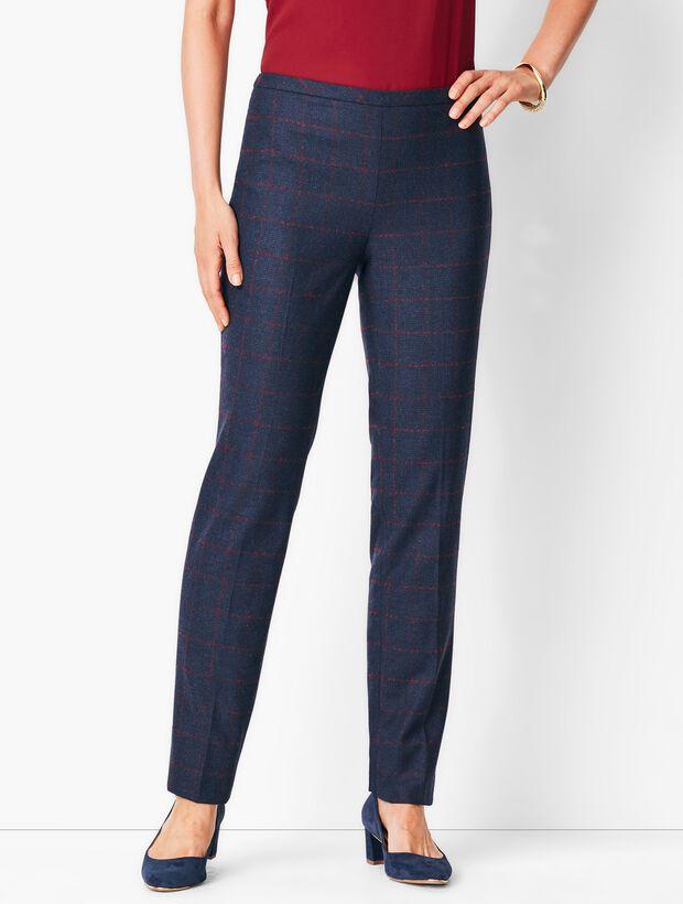 Windowpane Slim-Leg Pants