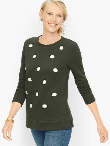Crewneck Sweatshirt - Embroidered Sheep