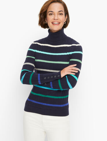 Button Cuff Stripe Turtleneck Sweater
