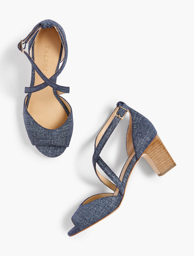 Gisela Cross-Strap Sandals - Sueded Denim