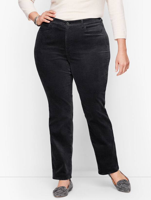 Velveteen Straight Leg Pants - Curvy Fit