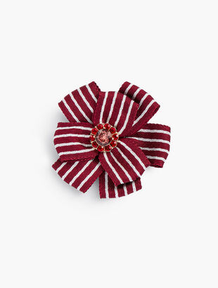 Striped Ribbon Corsage Brooch