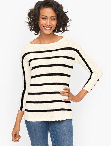 Button Cuff Stripe Slub Pullover