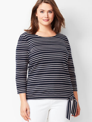 Textured Tie-Hem Top - Stripe