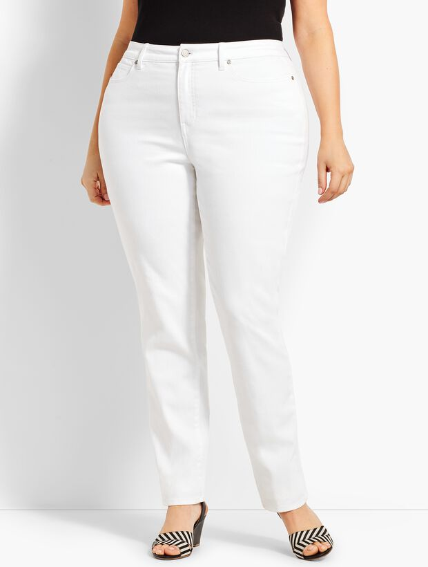 High-Waist Straight-Leg Jeans - Curvy Fit - White
